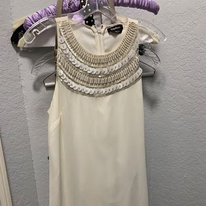 Gorgeous white BEBE dress with beading!
